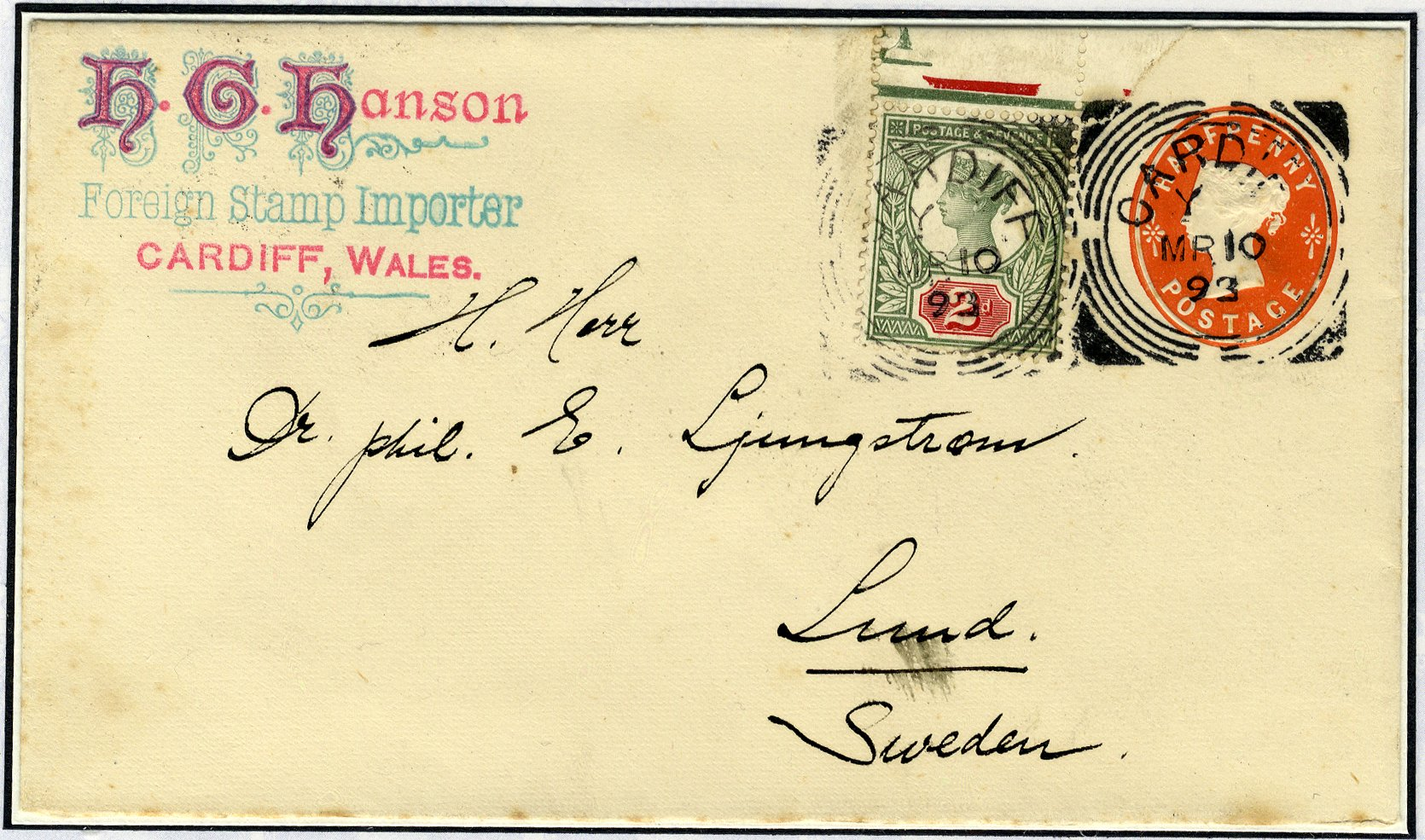 1893 cover advertising Hanson - Foreign Stamp Importer