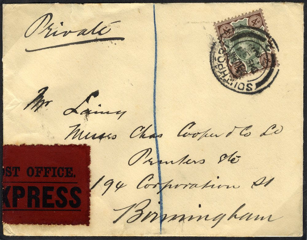 1902 Express cover Southport - Birmingham