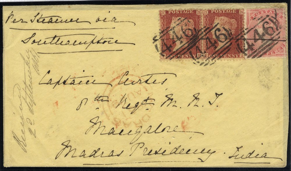 1864 cover Ledbury to Madras, India