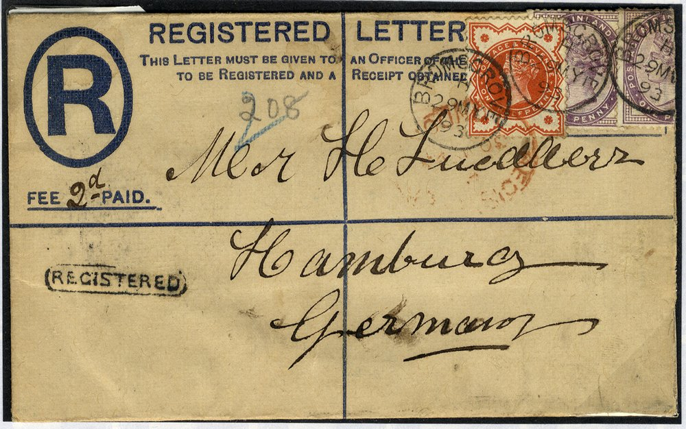 1893 registered cover to Germany