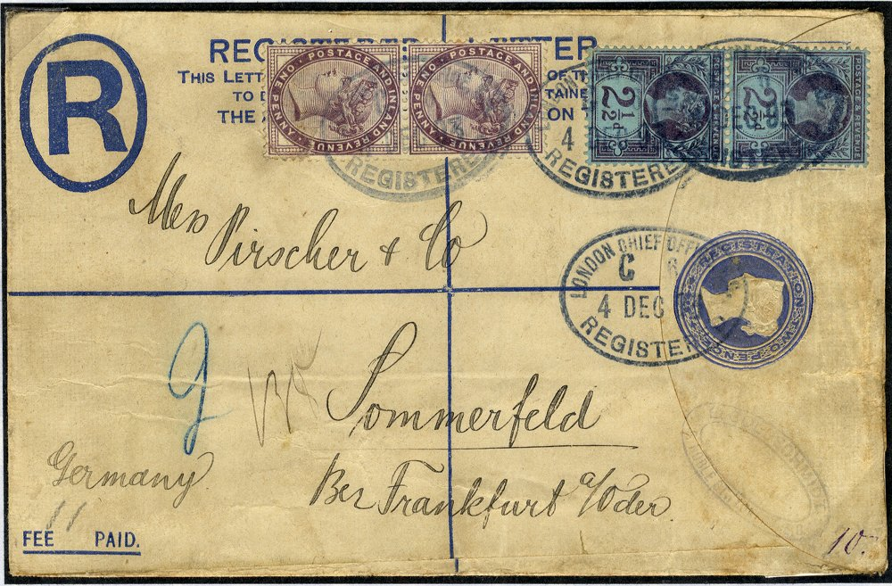 1893 2d registered envelope uprated to Frankfurt