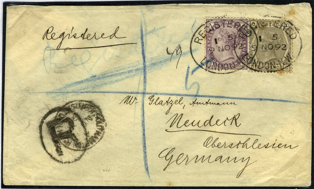 1892 registered cover to Germany franked 1d lilac + 6d grey