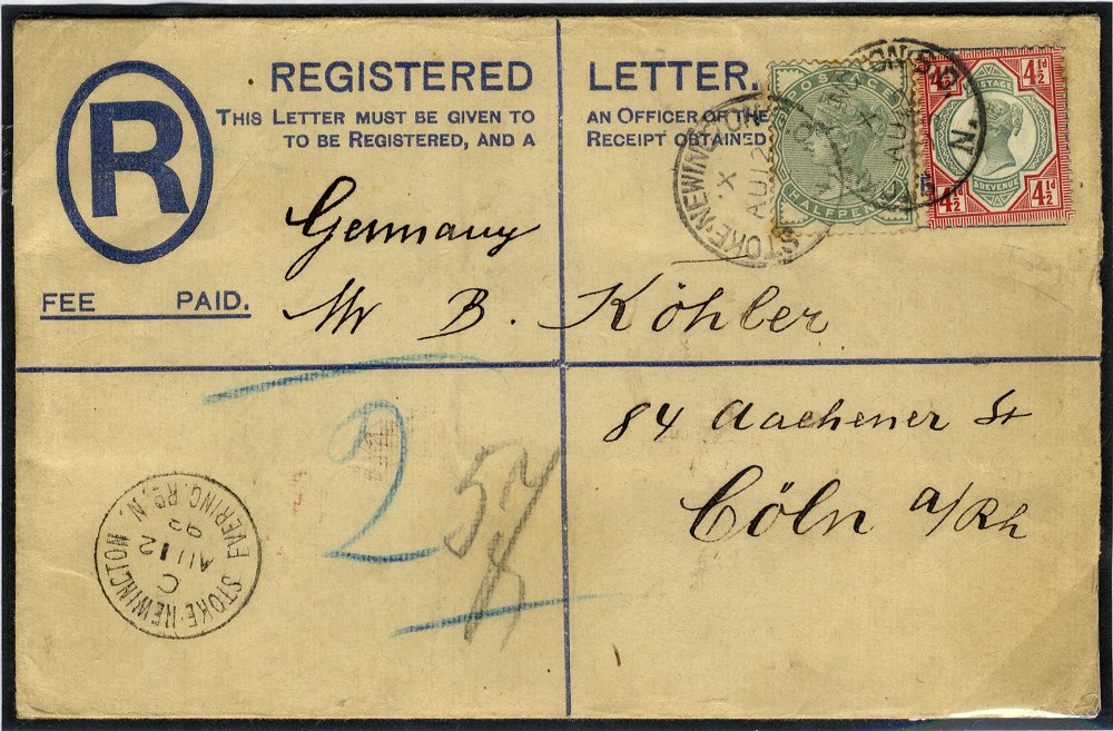 1893 registered cover to Germany franked ½d + 4½d