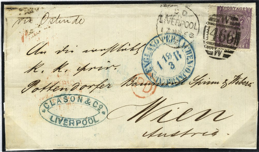1868 6d deep lilac SG105 on cover to Austria