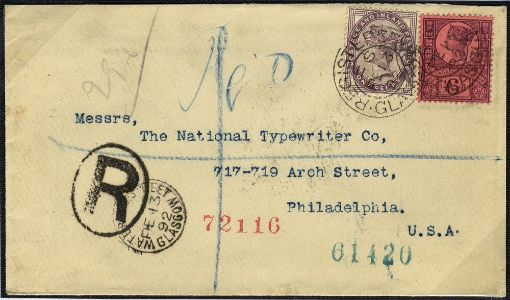 1881 registered cover to Philadelphia