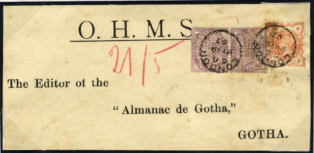 1897 OHMS wrapper to Gotha, Sweden, Perfins 'Crown BT' (Board of Trade)
