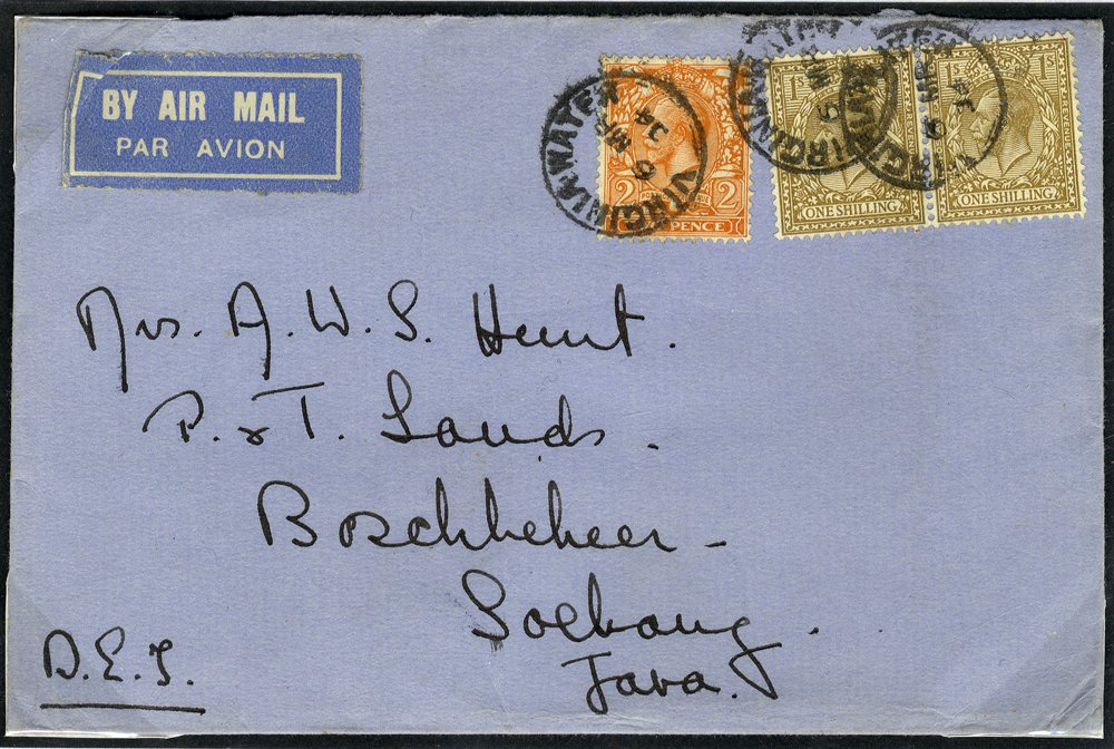 1934 Airmail cover Virginia Water to Java