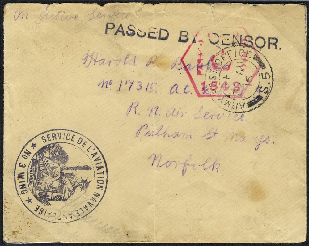 1916 censored envelope to Norfolk