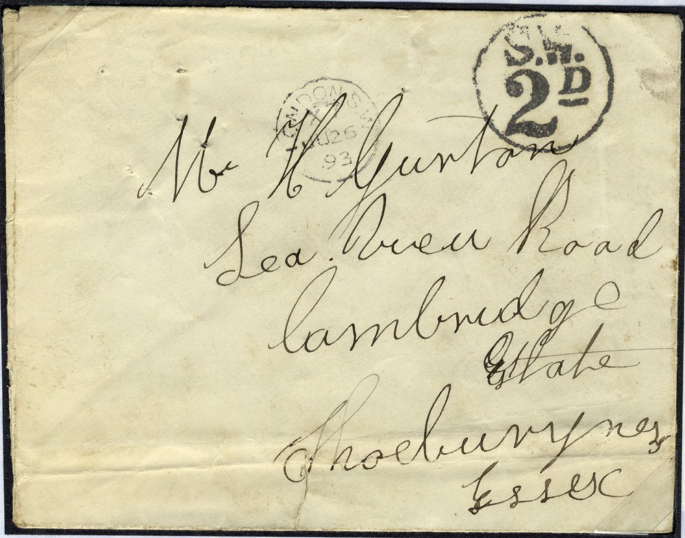 1893 envelope - stamp on reverse - taxed