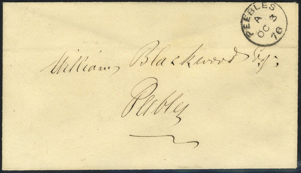 1876 envelope cancelled Peebles c.d.s
