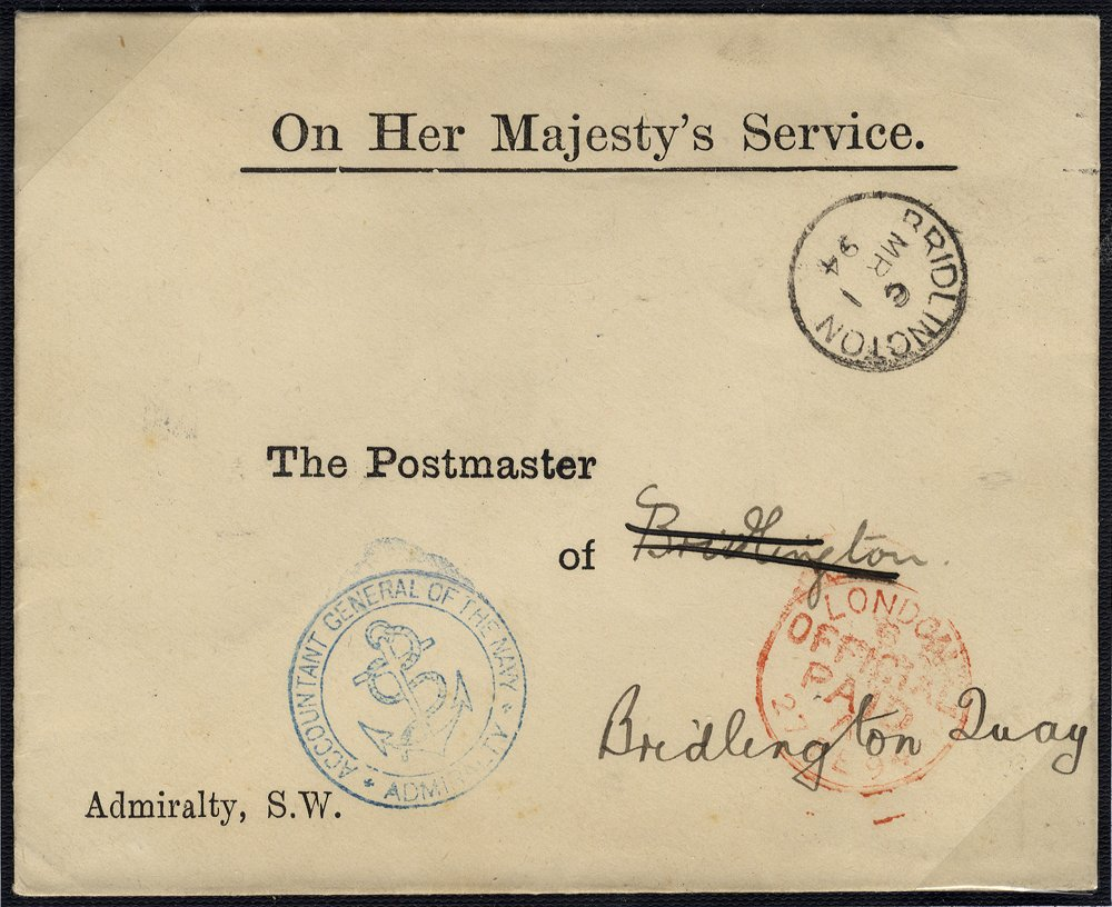 1894 OHMS Admiralty cover