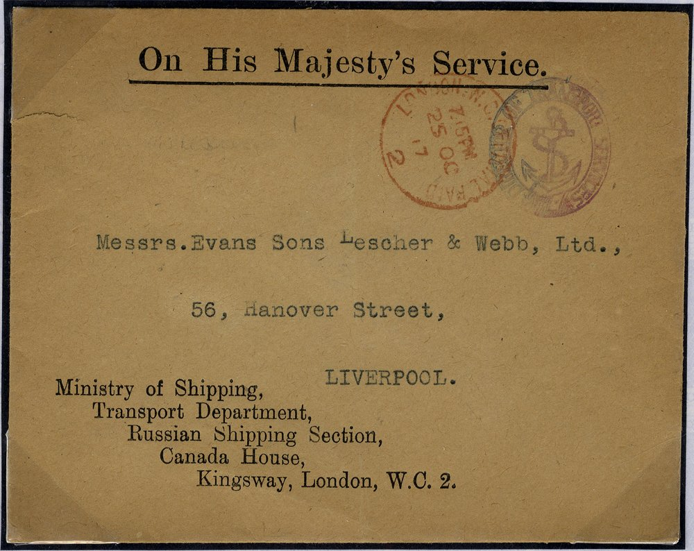 1917 OHMS envelope Admiralty cachet