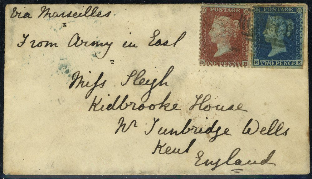 1856 cover used in the Crimea 'OXO' postmark