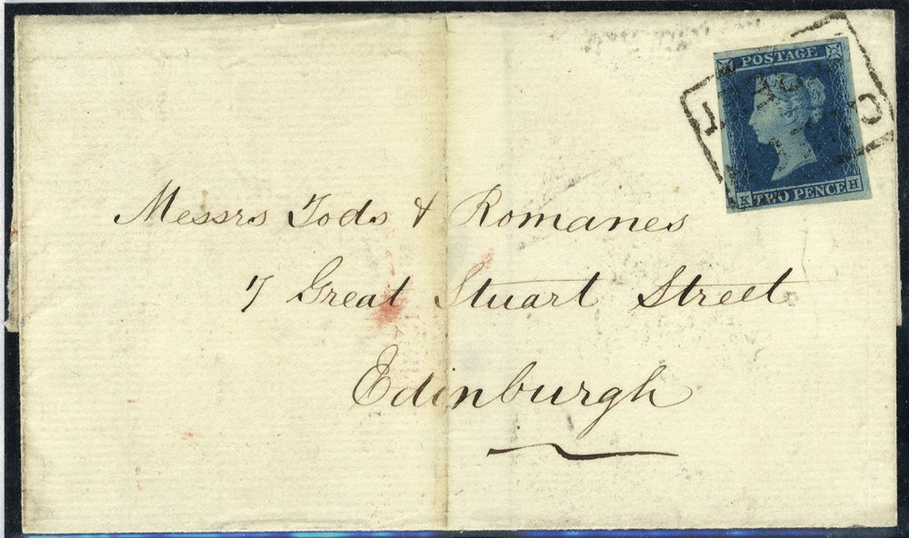 1854 QUEEN/STREET Scots local on 2d blue