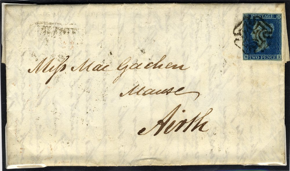 1843 cover franked 2d Plate 2 used distinctive Stirling Maltese Cross