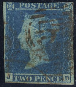1841 2d Plate 3 cancelled 1844 numeral in red