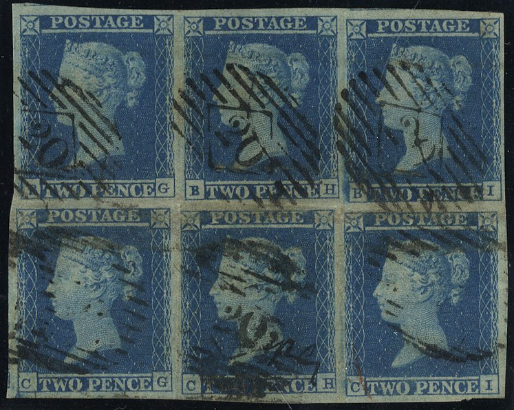 1841 2d Plate 4 block of six incl. 'BH' non-spectacle variety