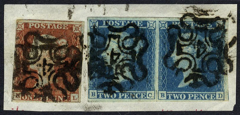 1841 2d Plate 3 pair & 1841 1d on piece cancelled No 4 in Maltese Cross