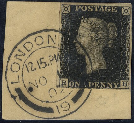 1840 1d black Plate 6 tied to piece London 1902 c.d.s. - late use