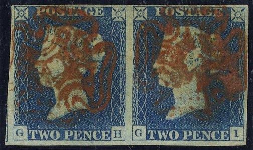 1840 2d Plate 1 pair - Stonehaven distinctive crosses