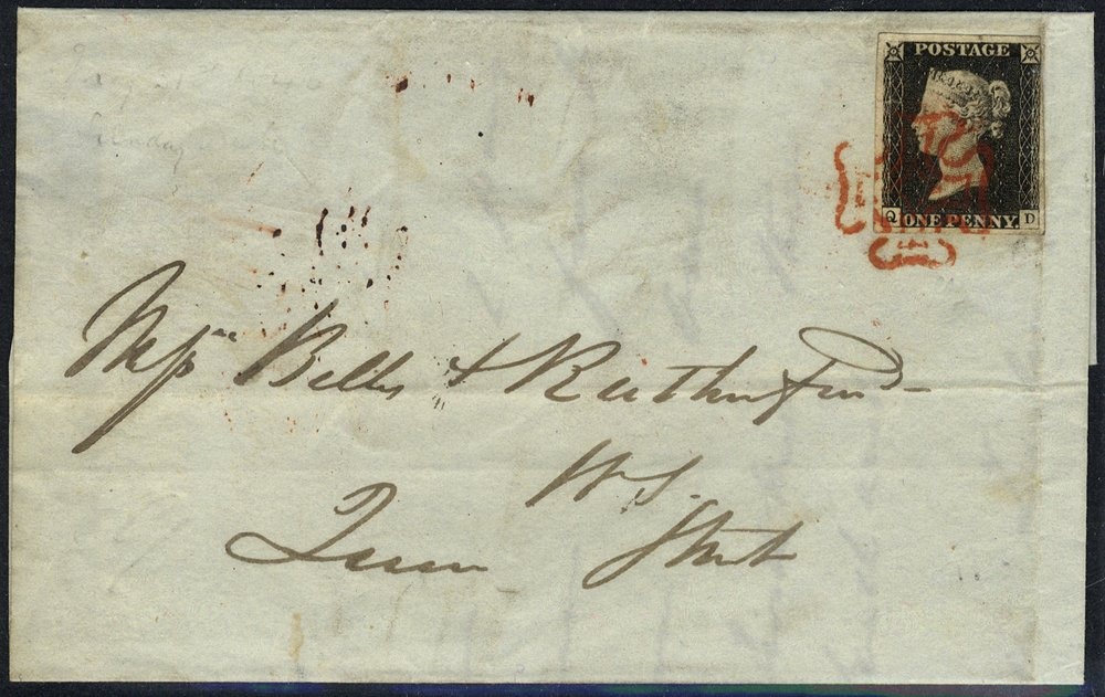1840 penny black Plate 2 Sunday date cover