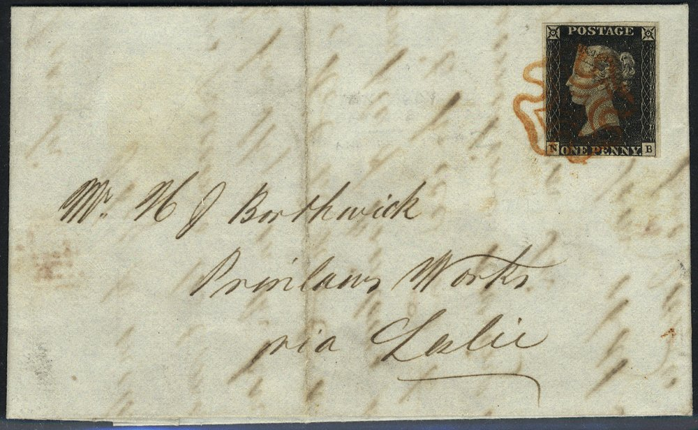 1840 penny black Plate 2 cover tied fine red Maltese Cross