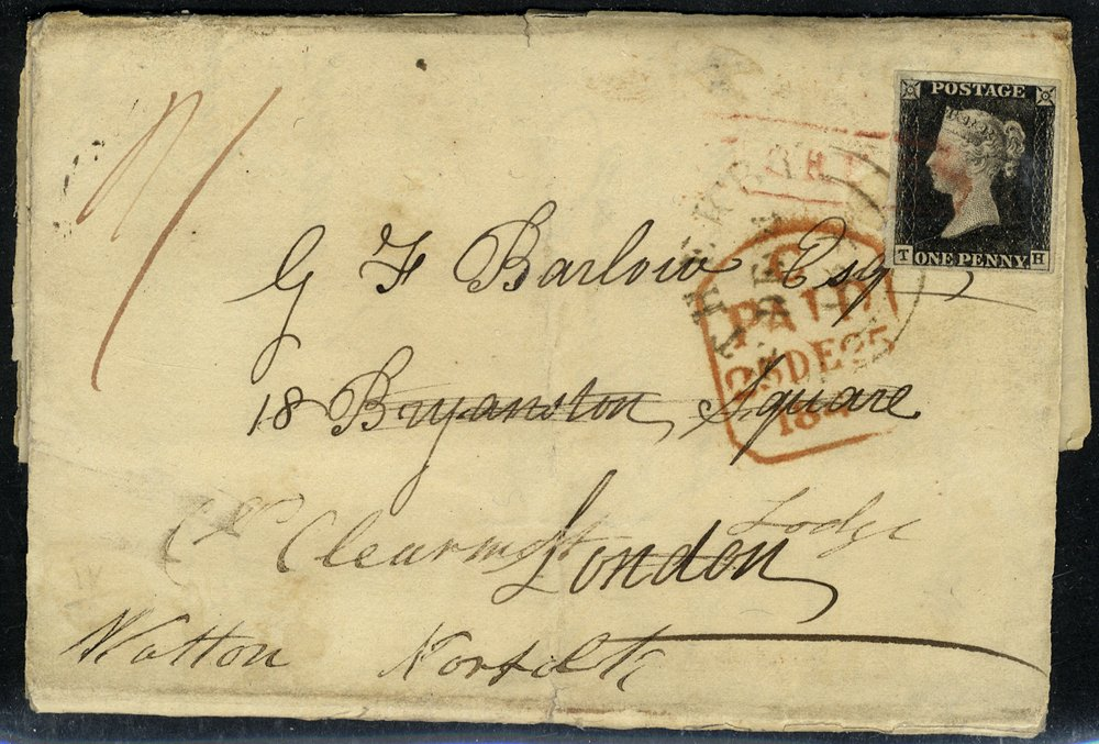 1840 penny black Plate 4 re-directed cover tied solely framed 'York St' in red