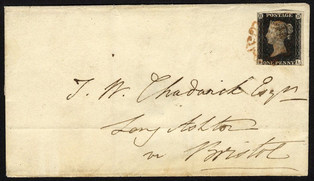 Penny black cover with RARE Wotton under Edge Maltese Cross