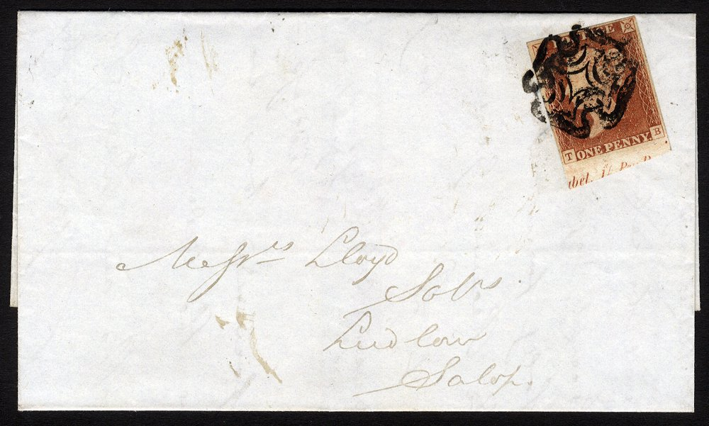 Penny red on cover - part marginal inscription