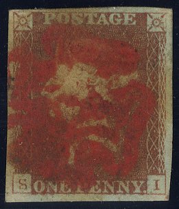 1841 penny red bold red Maltese Cross
