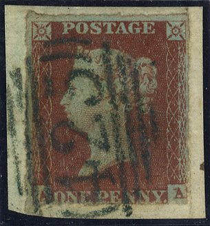 1841 penny red - green numeral of Knutsford