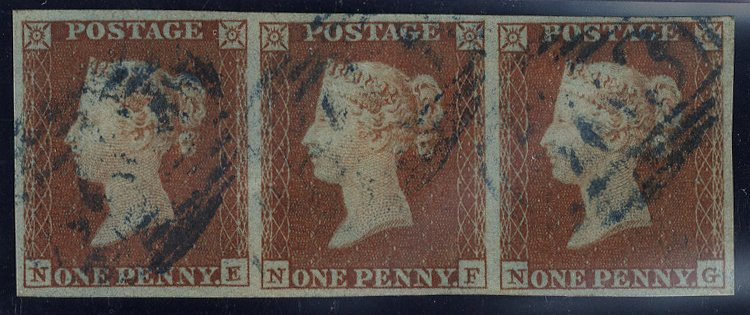 1841 penny red STRIP OF THREE cancelled BLUE numerals