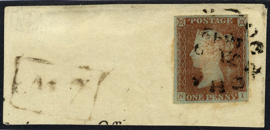 1841 penny red from black Plate 2 town date stamp