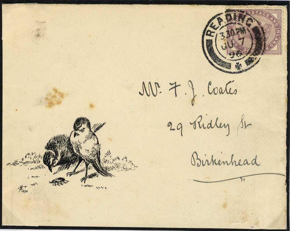 1896 Victoiran hand illustrated birds envelope to Birkenhead