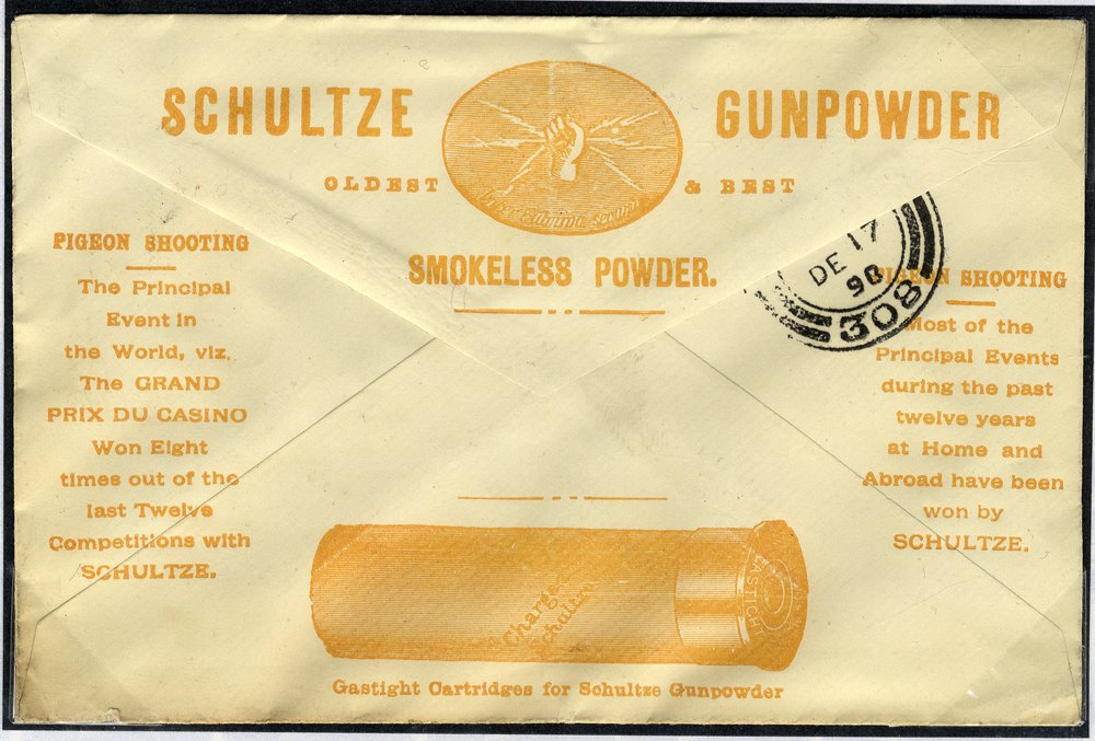 1898 advertising envelope Shotgun Powder - London to Stirling