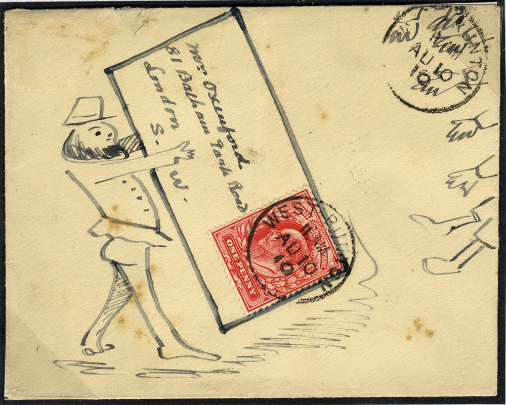 1910 hand illustrated envelope West Runton to London