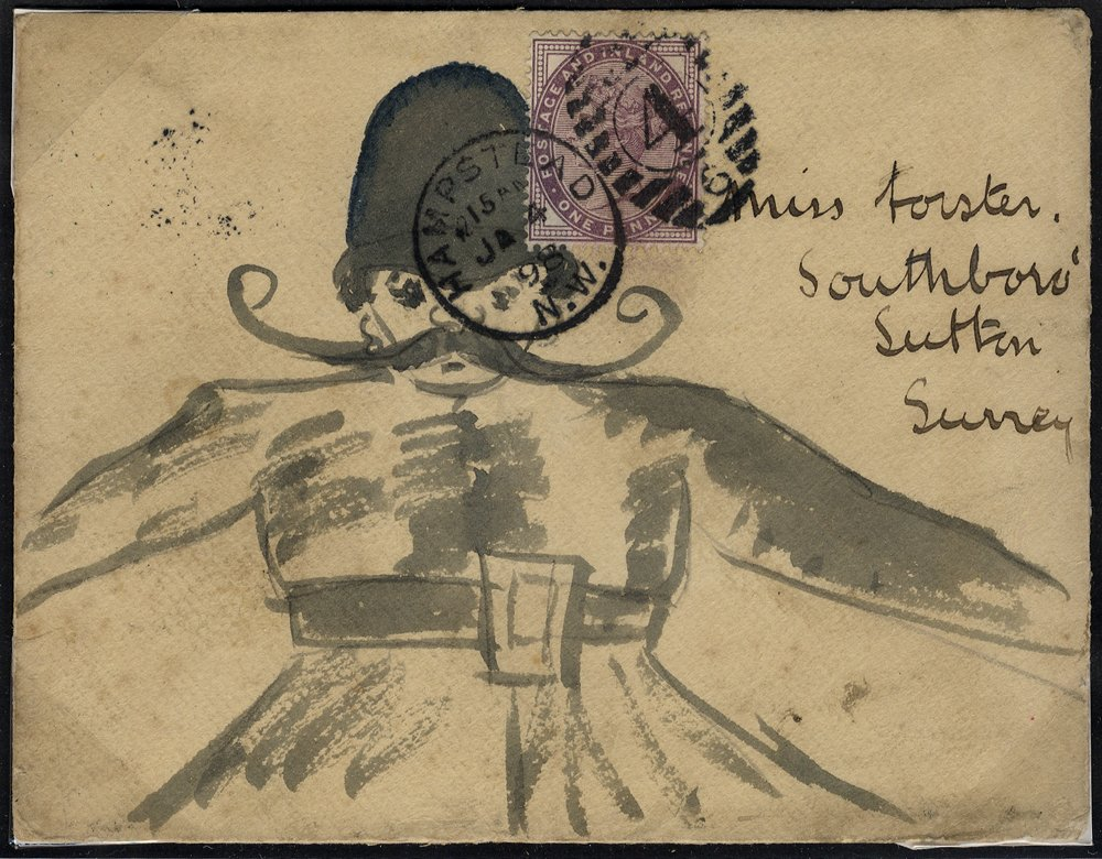 1898 hand painted envelope Hampstead to Sutton