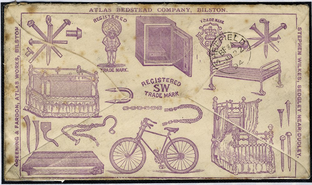 1881 advertising envelope Bicycles - Bilston to Sheffield