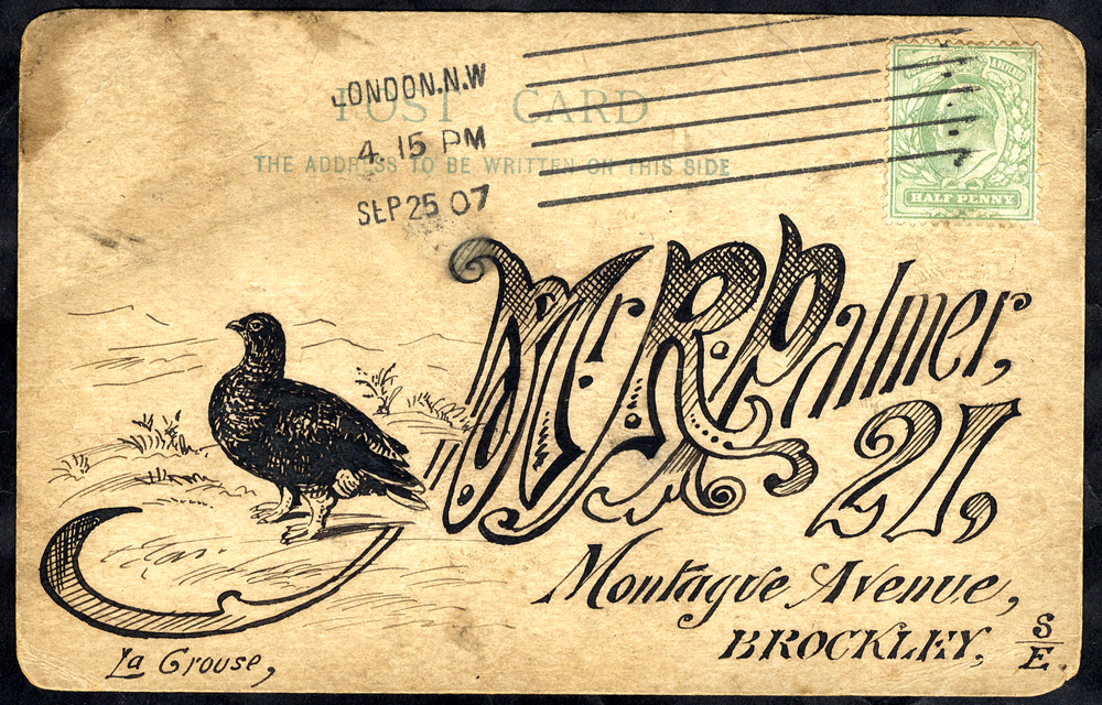 1907 illustrated postcard Grouse Moor - London to Brockley