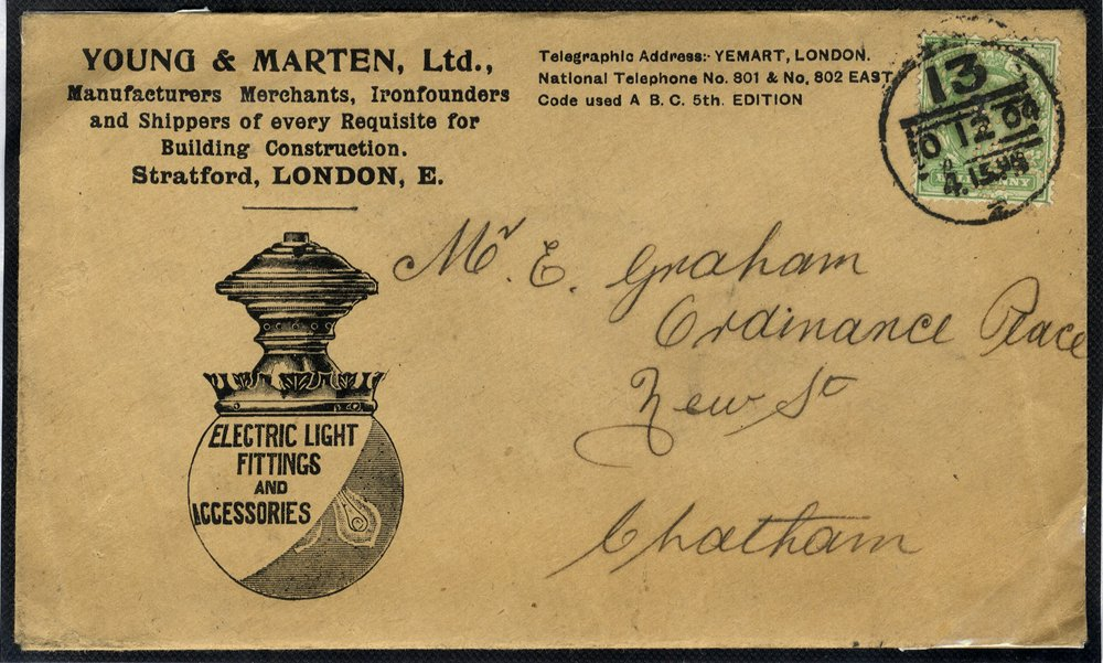 1902 advertising envelope Builders Merchants - Electric Light Bulb