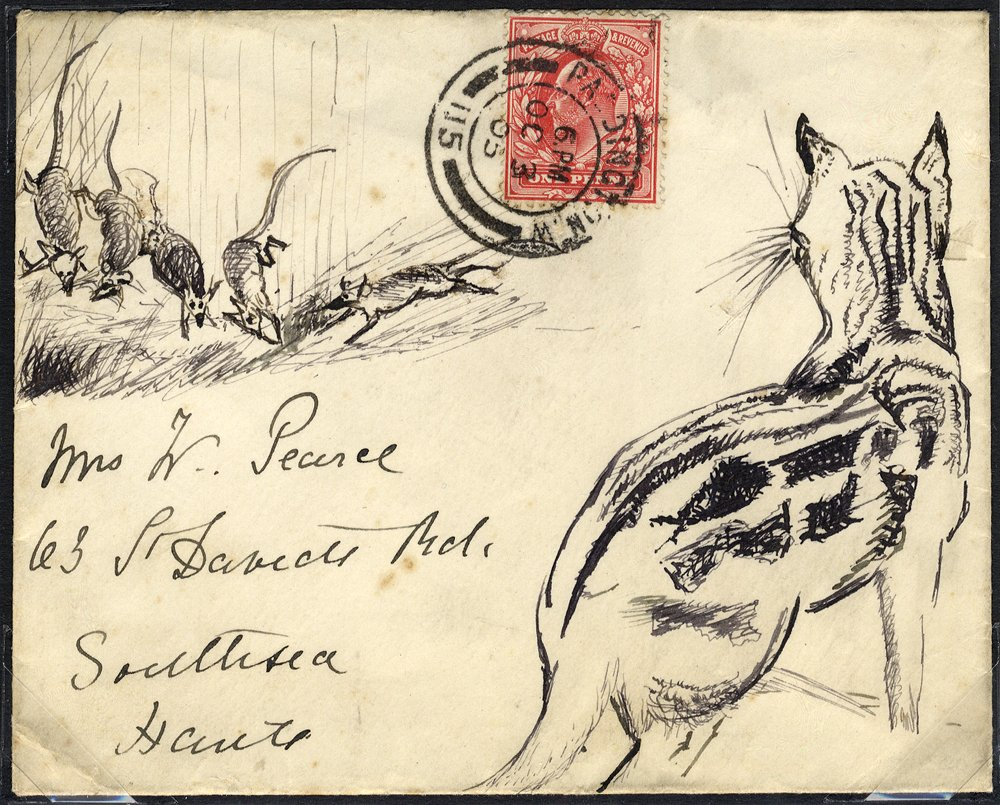 1905 illustrated envelope Cat & Mouse - Paddington to Southsea