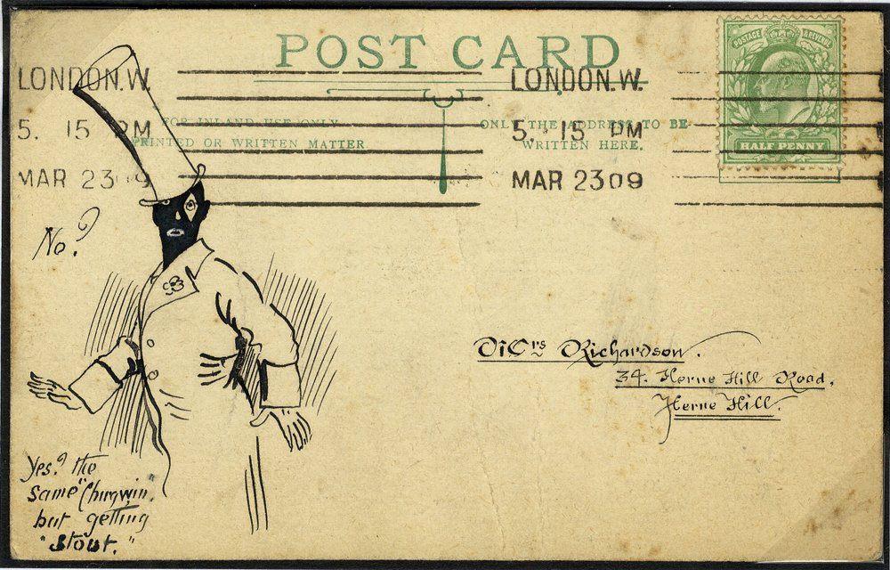 1909 pen & ink illustrated postcard - Man in Top Hat