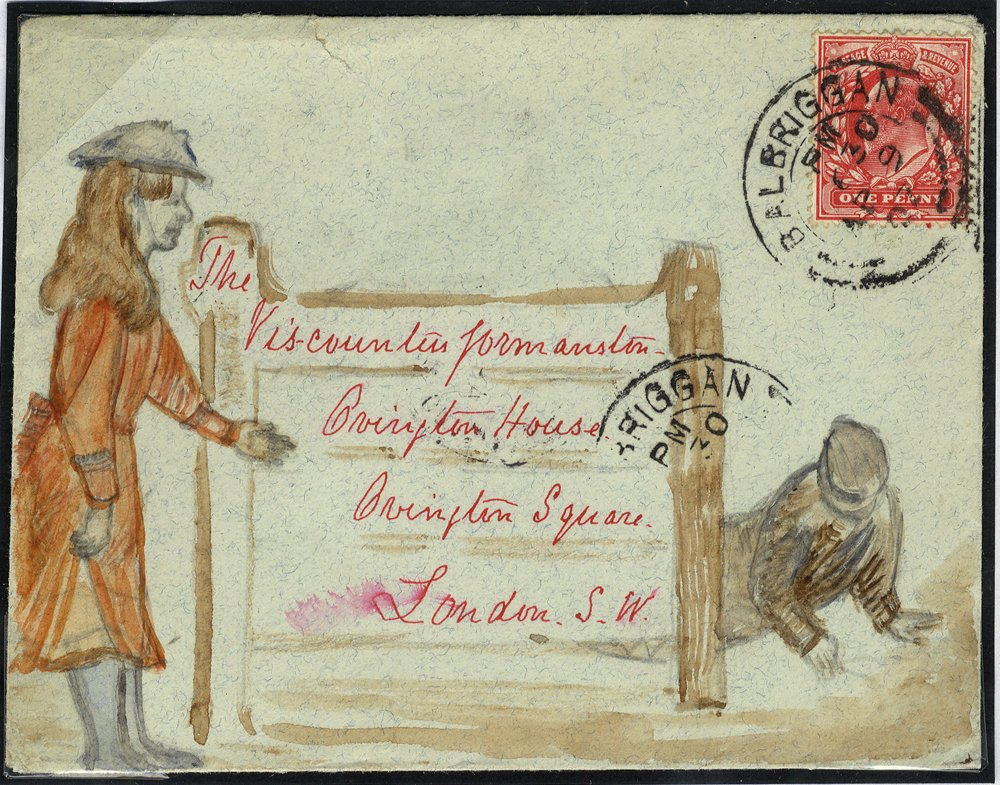 1907 hand painted envelope to London