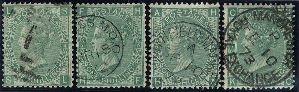 1867 1s SG117 Very fine used x4