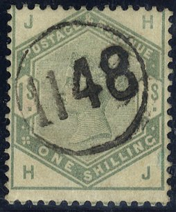 1884 1s dull green Telegraphic cancel SG196