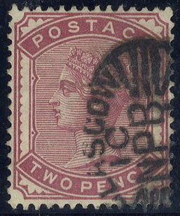 1889 2d deep rose Newspaper Branch cancel SG186a