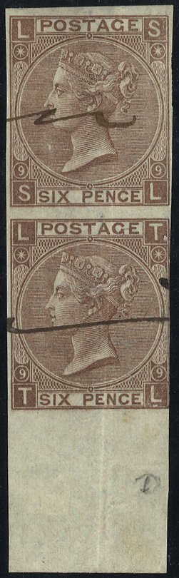 1870 6d Plate 9 COLOUR TRIAL in dull brown part M/S 'SPECIMEN' SL/TL marginal pair on gummed watermarked paper