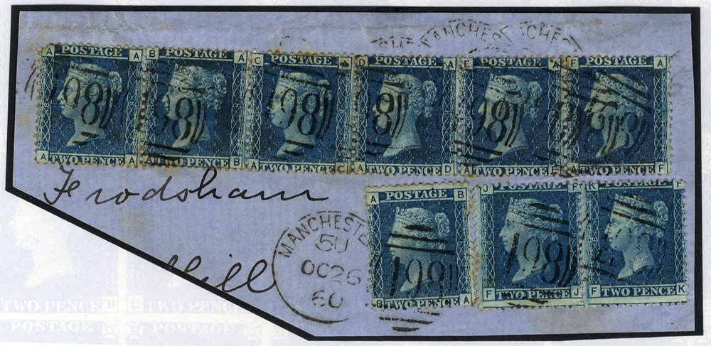 1860 2d Plate 8 multiple on piece SG45