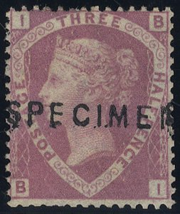 1860 Unissued 1½d SPECIMEN SG53as