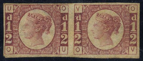 1870 ½d Plate 1 Imperforate air SG49a